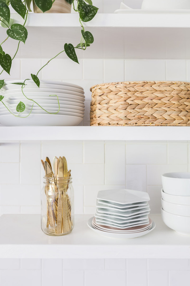 Open kitchen shelving via Alyssa Rosenheck