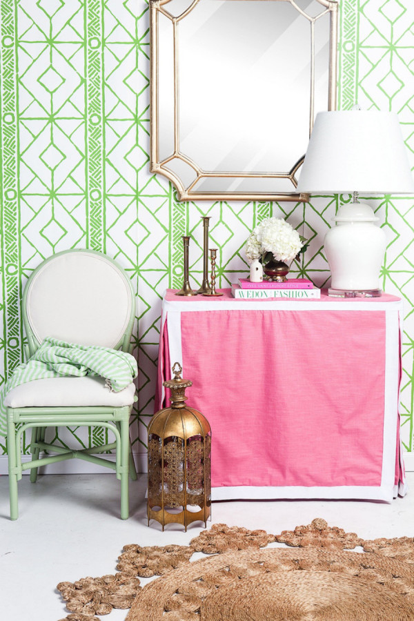 Palm Beach Chic Pink and Green Entryway via Society Social