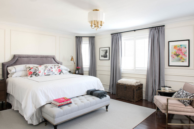 Parisian bedroom with grey headboard