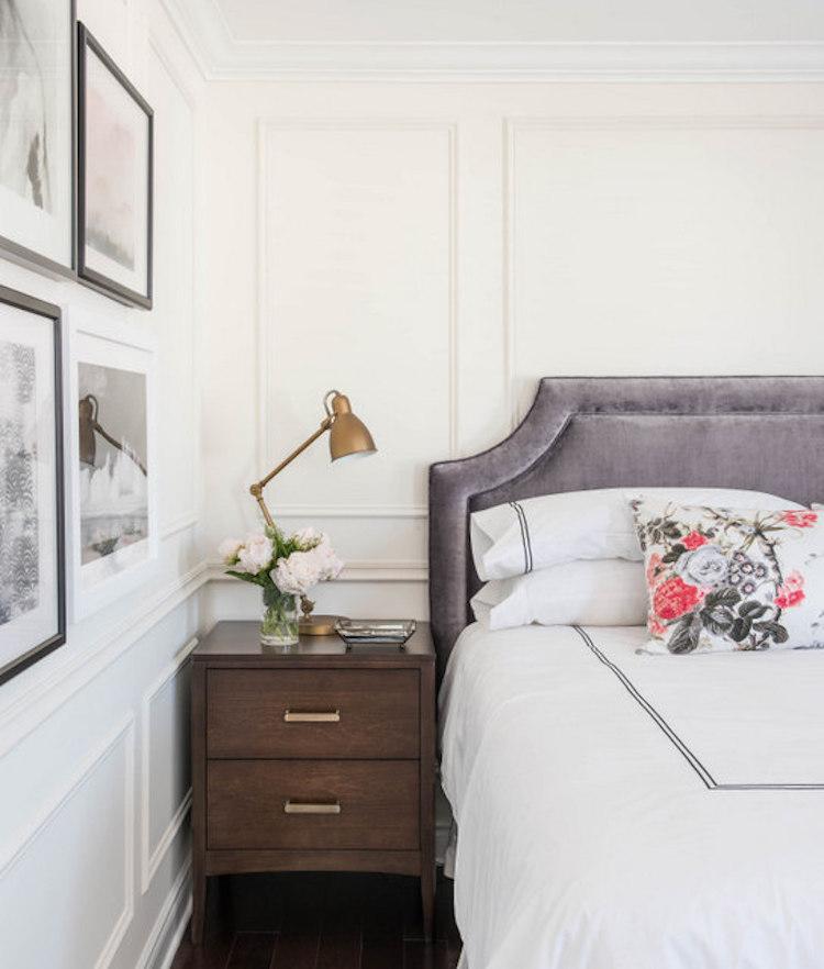 Parisian bedroom with oak nightstand