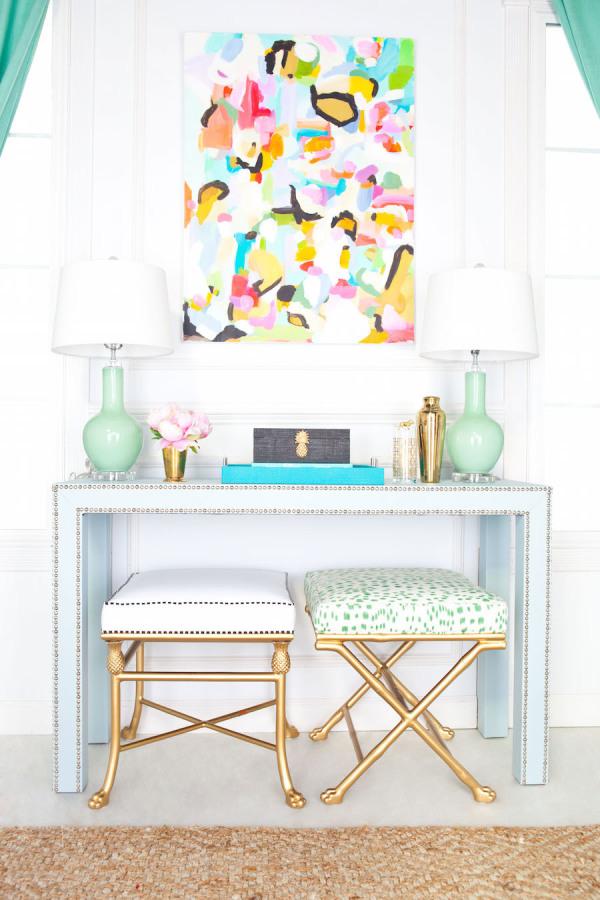 Pastel Blue and Green Entryway with Abstract colorful artwork