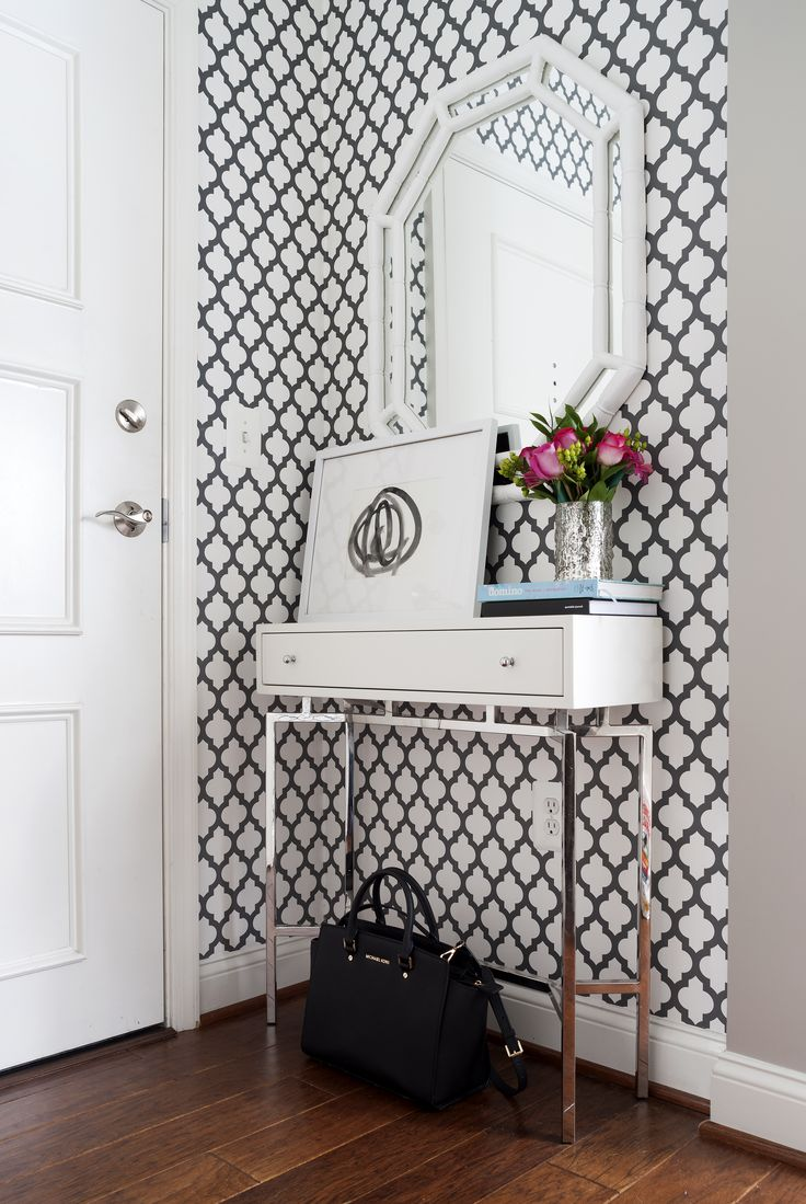 Patterned Black and White Entryway via JWS Interiors
