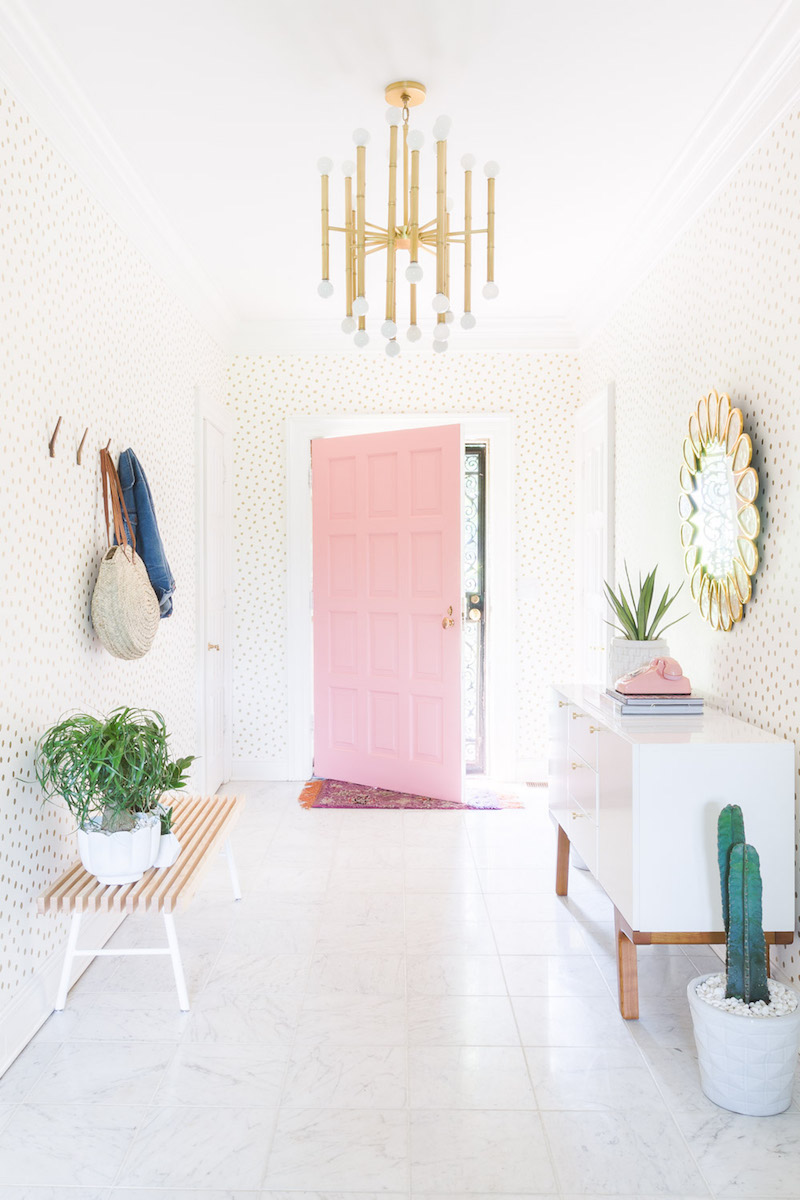 Pink front door entryway via Alyssa Rosenheck