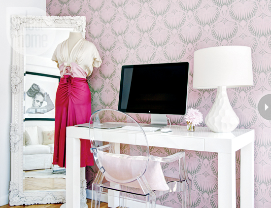 Pink pattern wallpaper with desk space