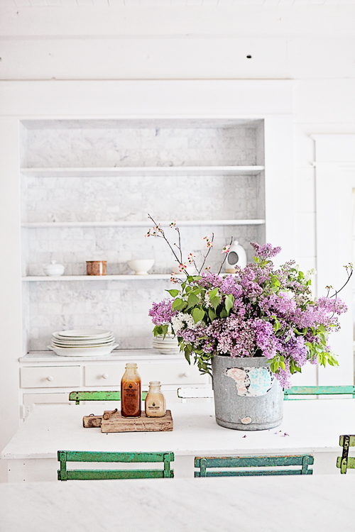 Purple flowers in breakfast nook