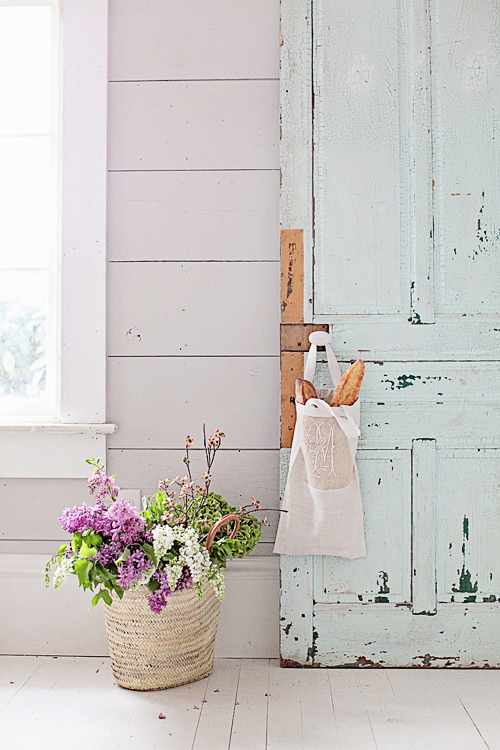Rustic blue door with baguettes
