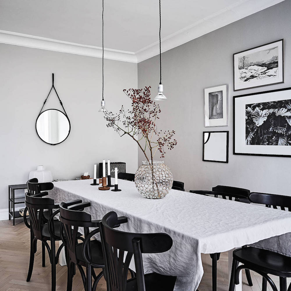 an airy and bright scandinavian apartment in grey black