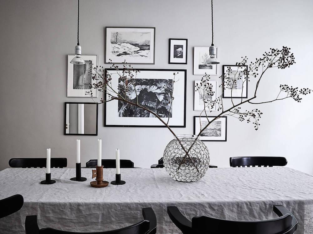 Scandinavian dining room with spherical glass vase