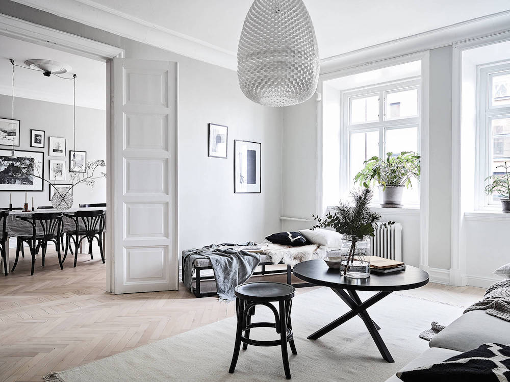 Scandinavian living room with chaise