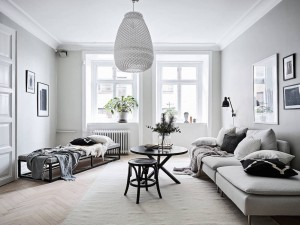 An Airy and Bright Scandinavian Apartment in Grey & Black