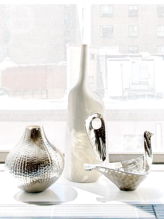 Silver home decor sculptures