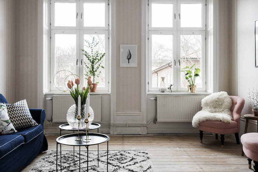 Stockholm Apartment with blush pink wallpaper