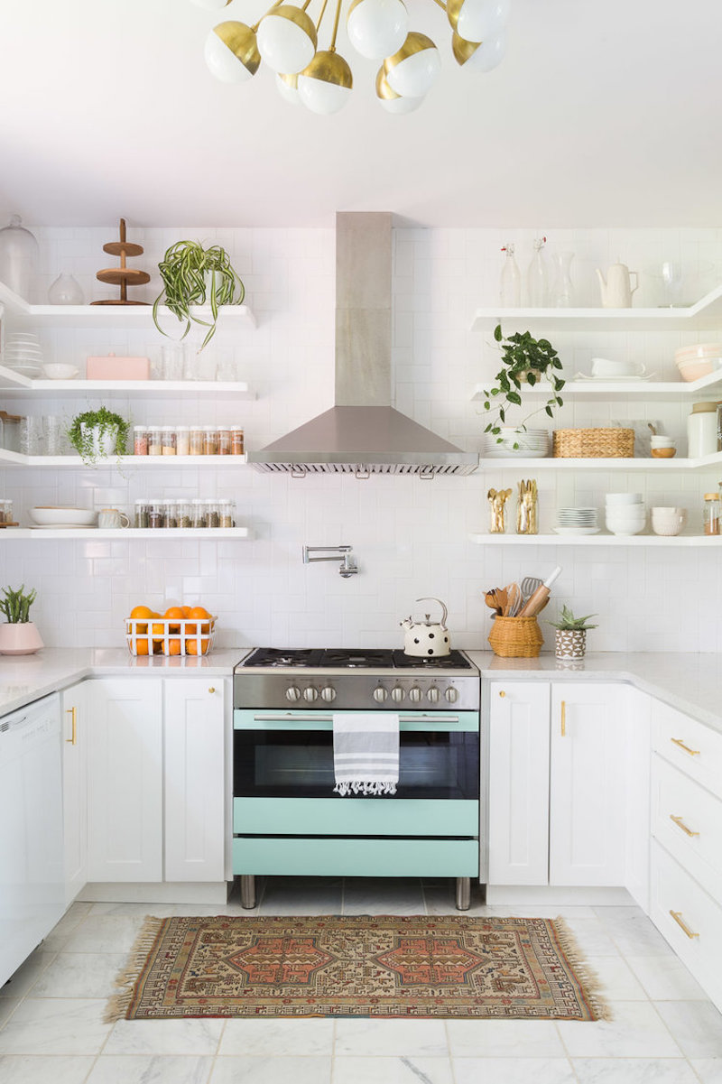 Turquoise oven in the kitchen by Alyssa Rosenheck