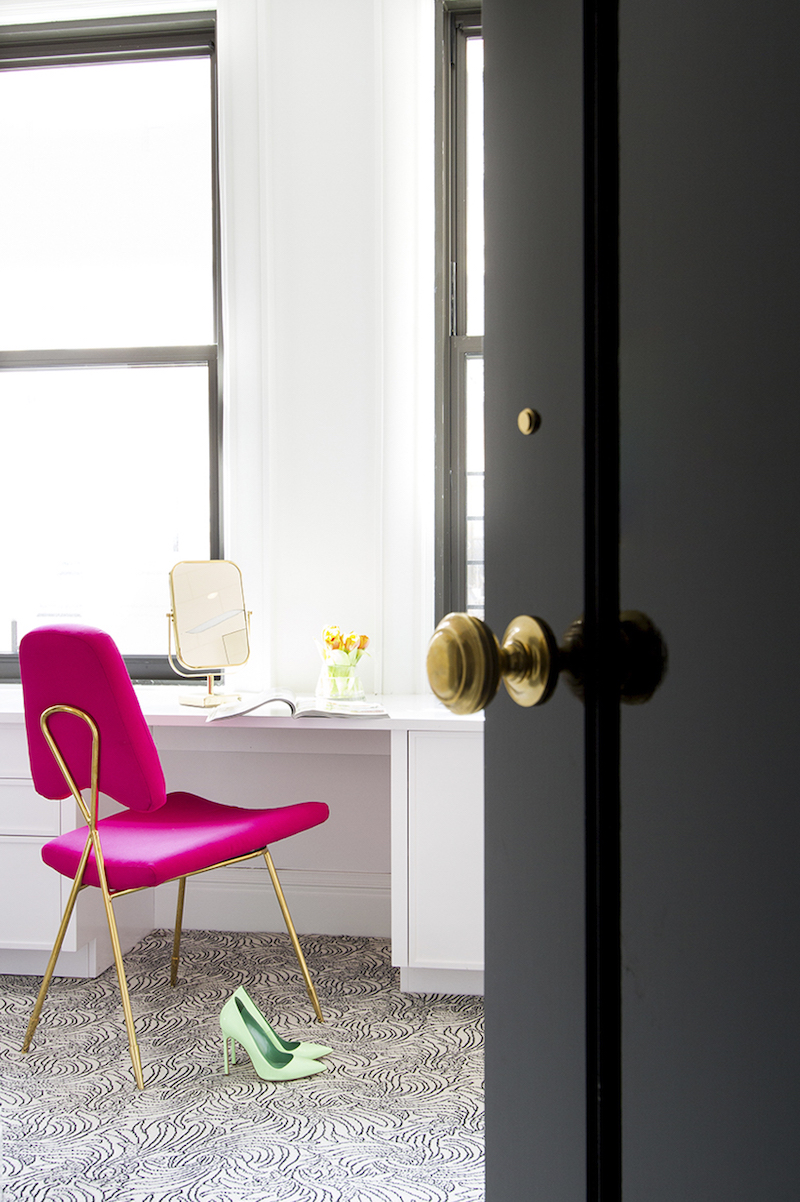 Vanity with Hot Pink Chair by Lilly Bunn