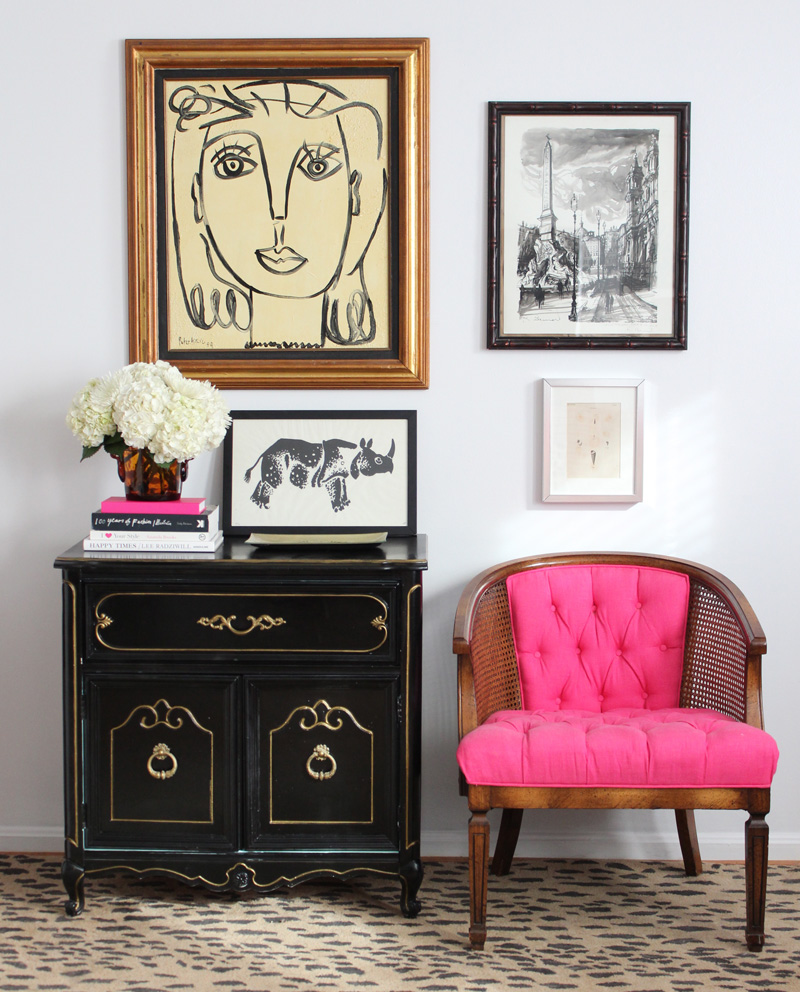 Vintage Entryway with gallery wall and pink chair by Lindsay Speace