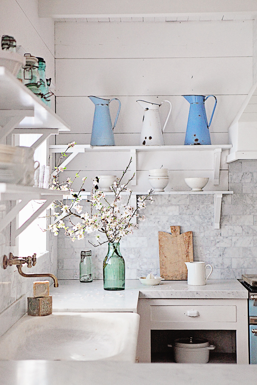 A White Sun-Drenched French Country Kitchen
