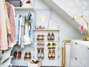 An Elegant Gray & White Walk-In Closet Makeover