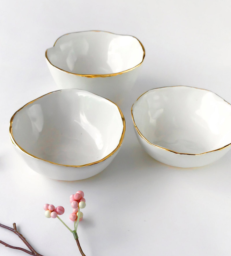 White Gold Rimmed Ceramic Dish by Scoutmob