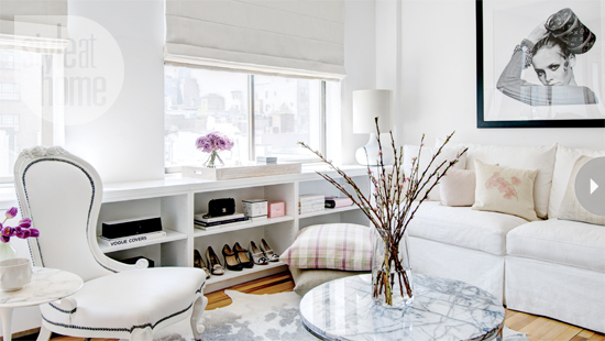White french chair living room with marble coffee table