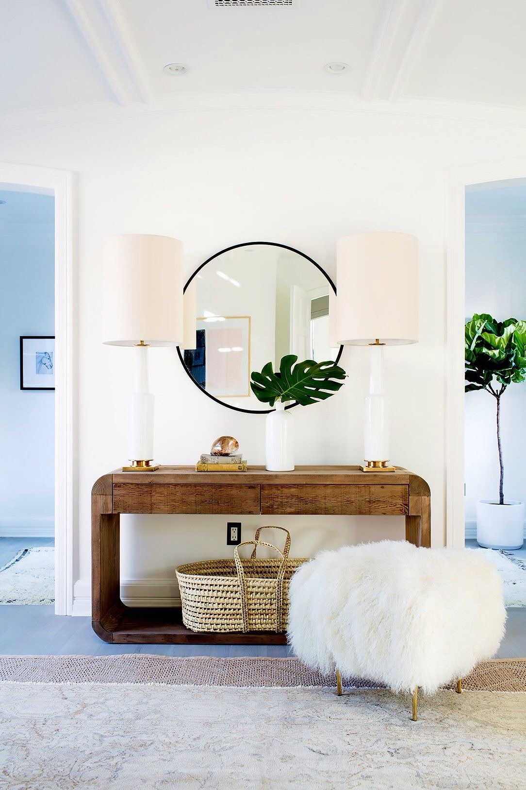 Wooden console table entryway with fur stool