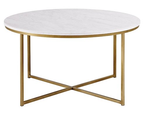 Affordable White Marble Coffee Table with Brass base