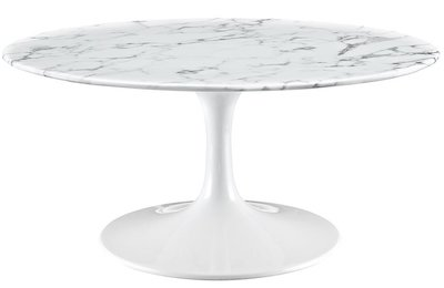 Affordable White Marble Coffee Table with White Base