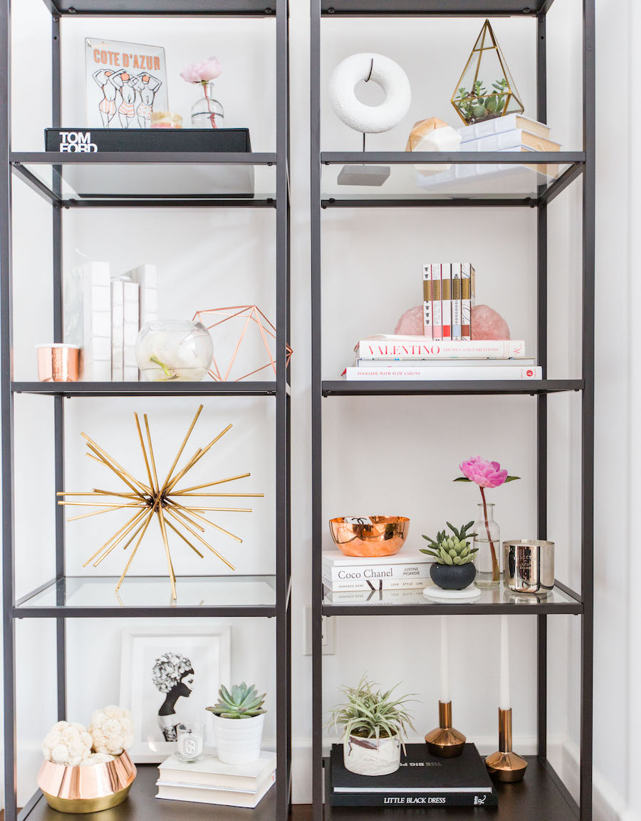 Black shelves styling