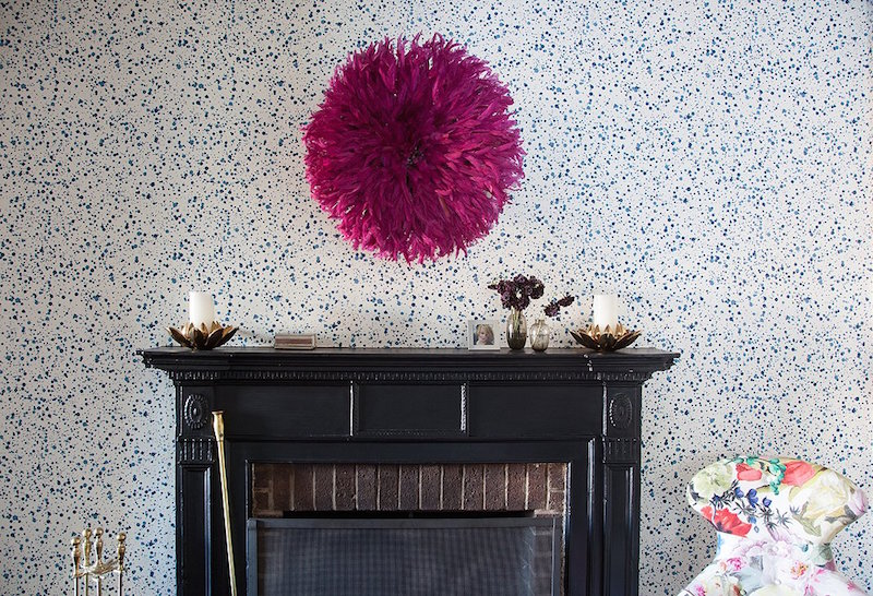 Blue spotted wallpaper via Lilly Bunn
