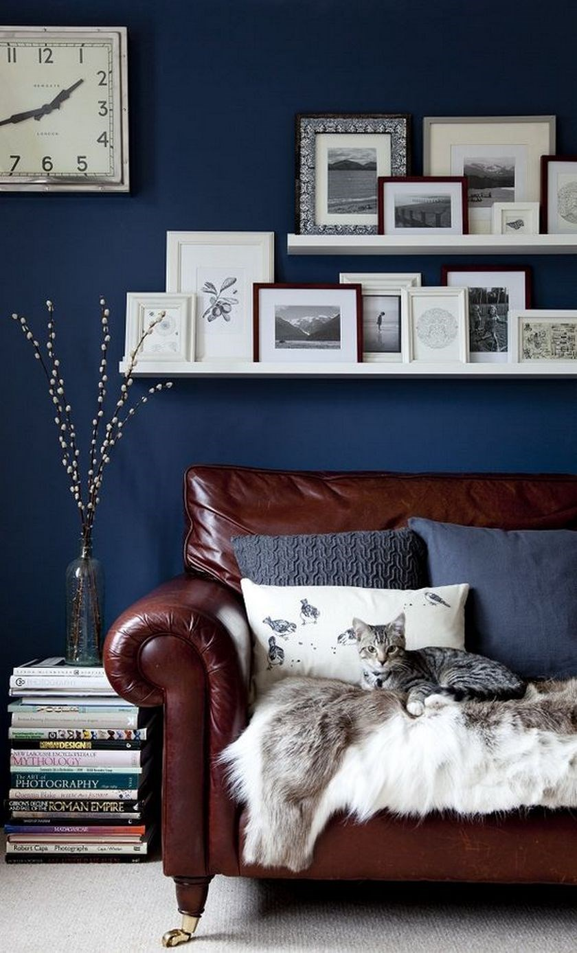 Brown leather sofa with navy blue wall