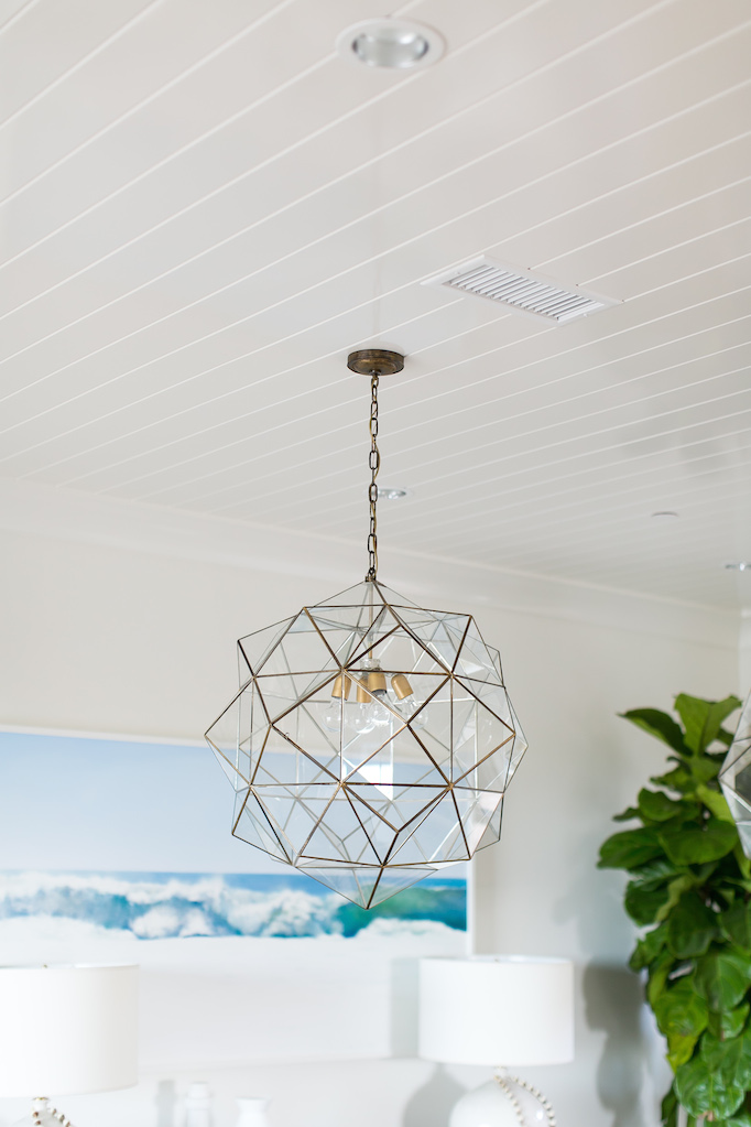 Coastal dining room caged pendant ceiling lighting
