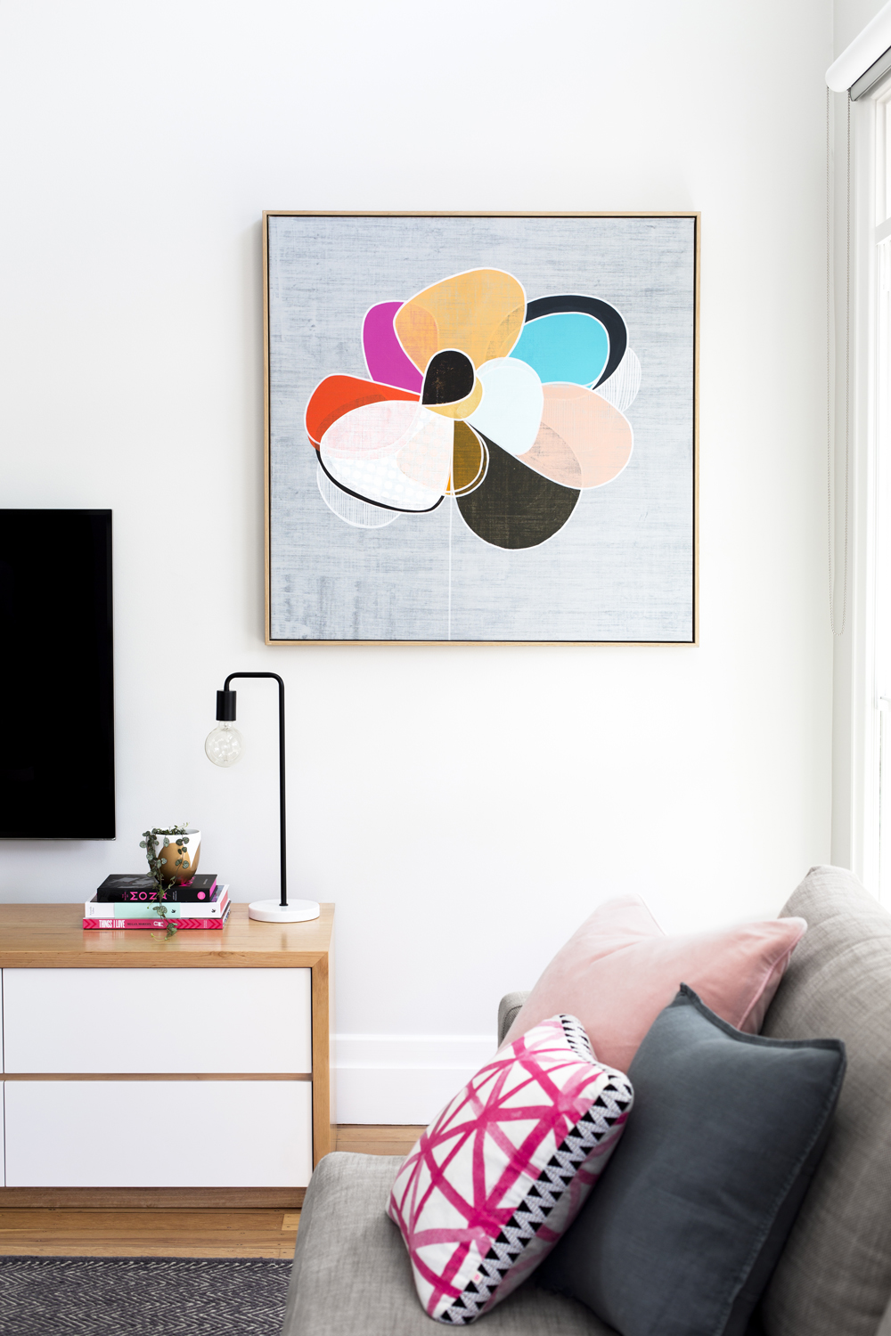 Colorful artwork in living room