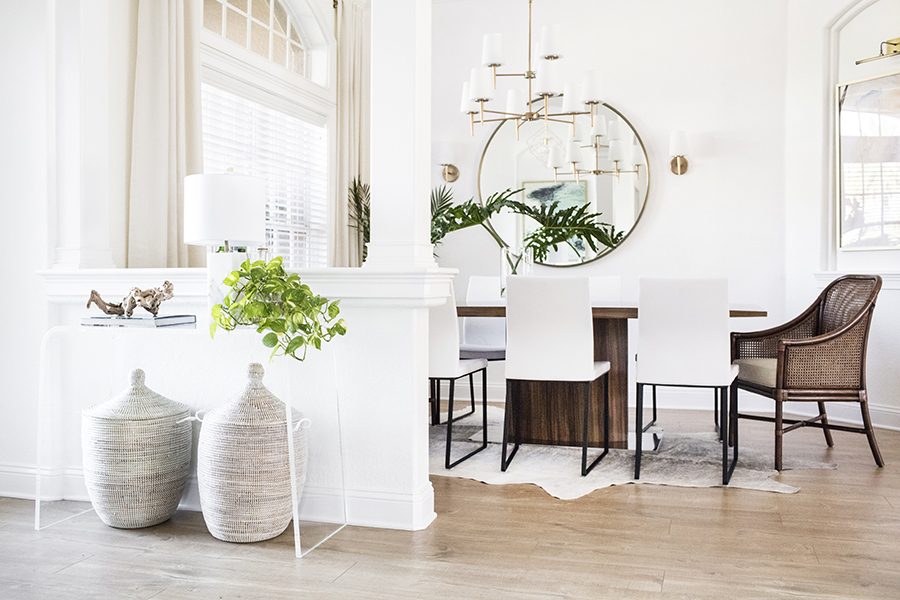 Entryway and dining room in neutrals