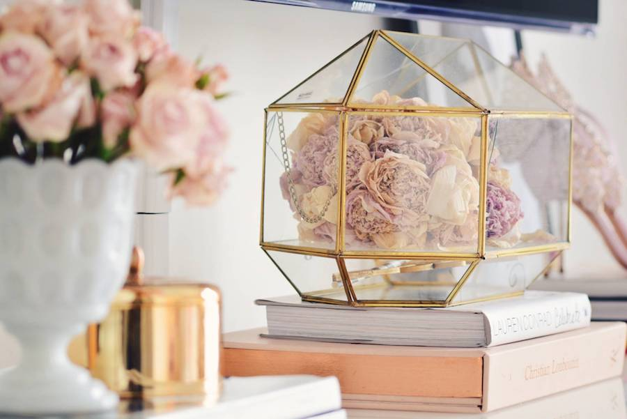 Gold glass box of flowers