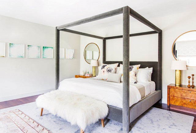 Grey velvet canopy bed