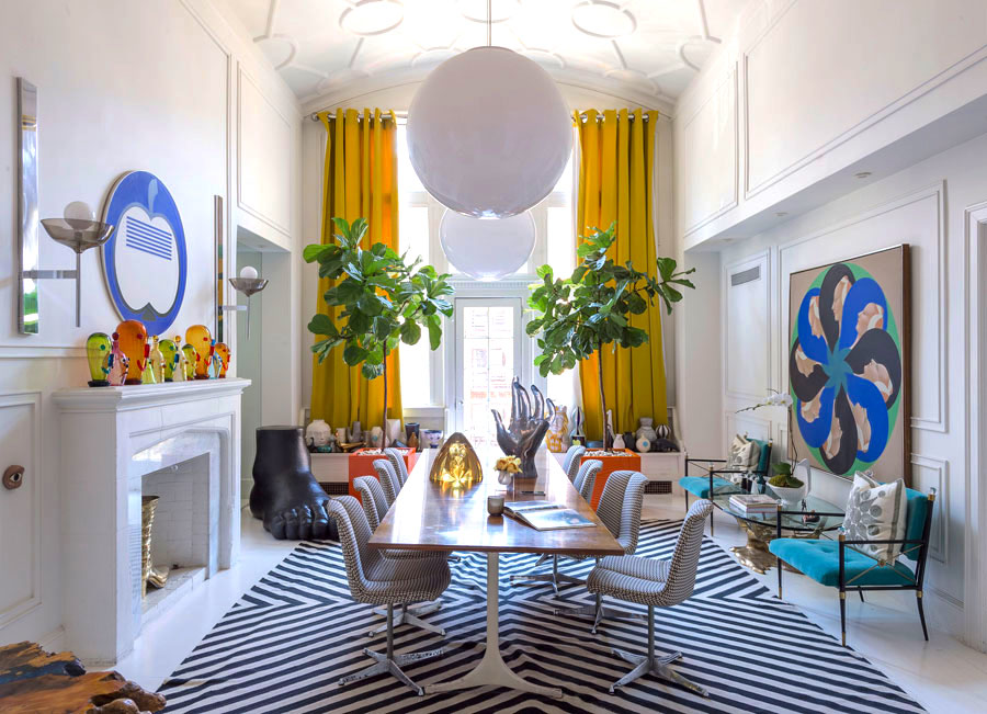 Jonathan Adler dining room with yellow curtains