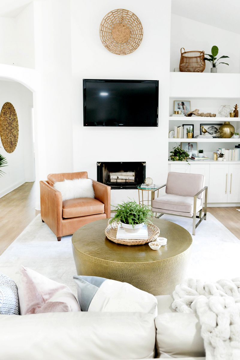 Living Room with mismatched neutral chairs