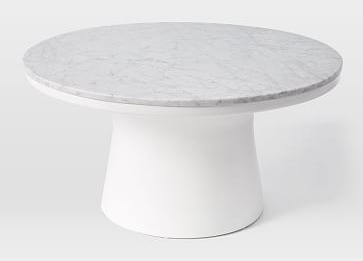 Marble top coffee table with solid white base