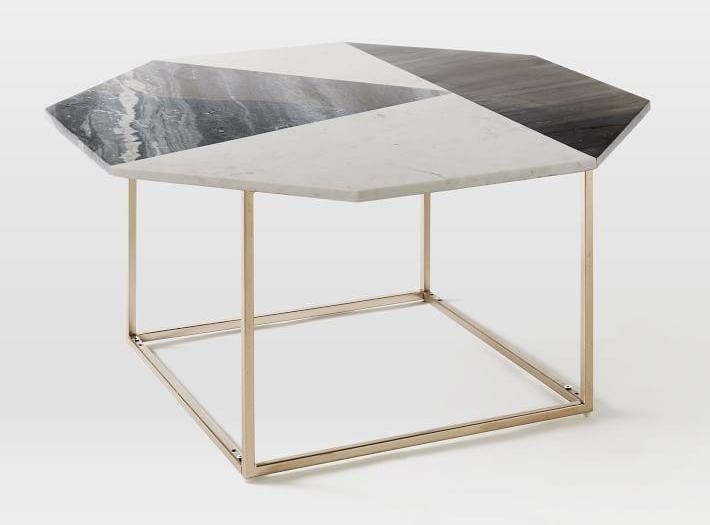 Marquetry Marble Coffee Table Marble Light Bronze