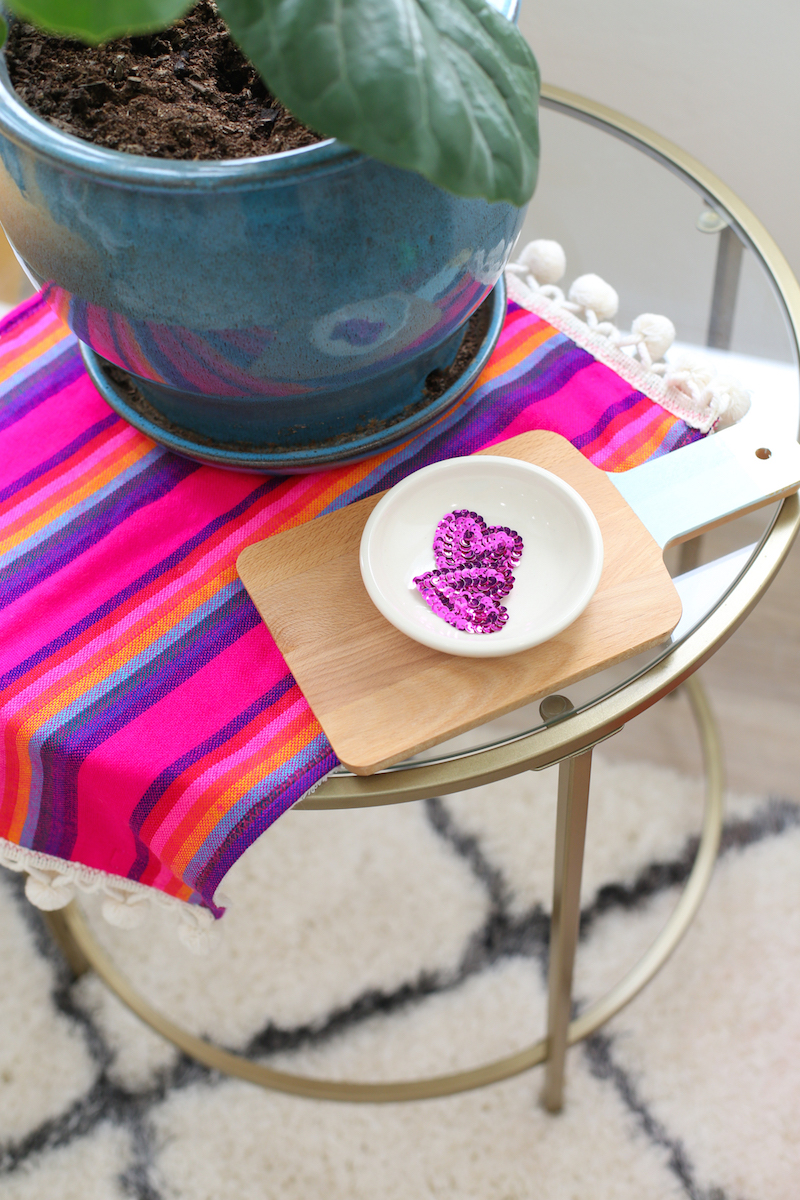 Mexican cloth on clear side table