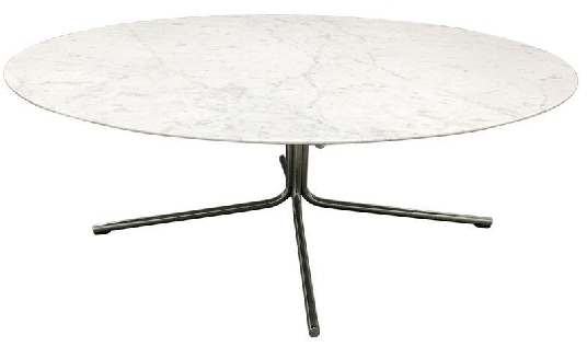 Mid-Century-Style White Marble Coffee Table