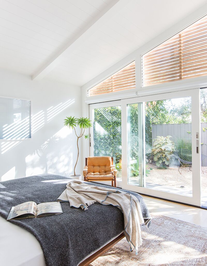 Minimalist Mid-Century Bedroom with grey blanket