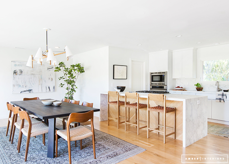 Minimalist Mid-Century Dining space and kitchen