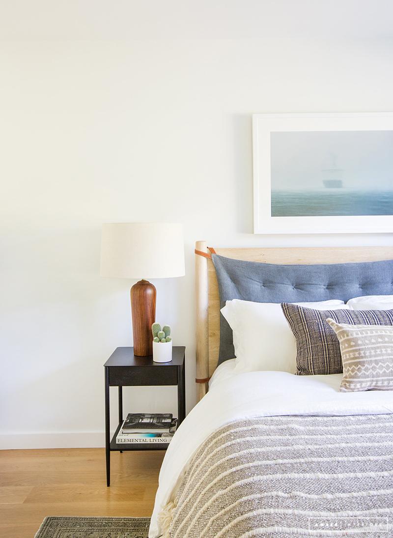 Minimalist Mid-Century bedroom in calming neutrals