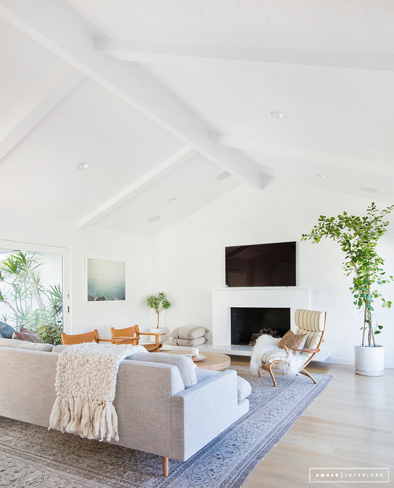 Minimalist Mid-Century living room with high ceilings