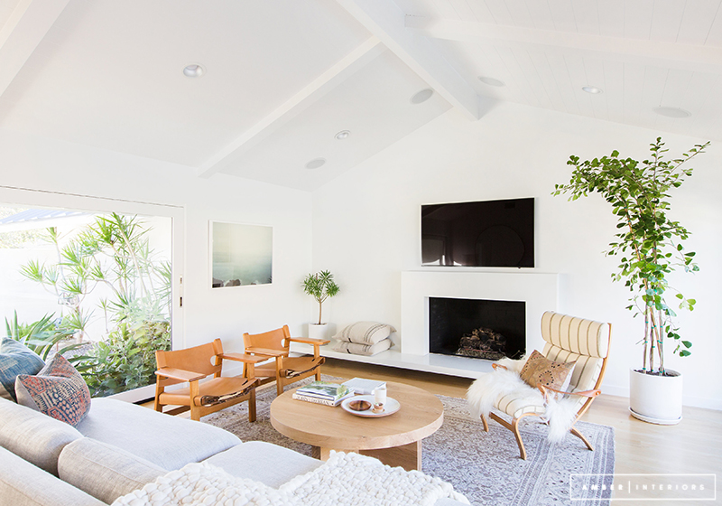 Minimalist Mid-Century living room with vaulted ceiling