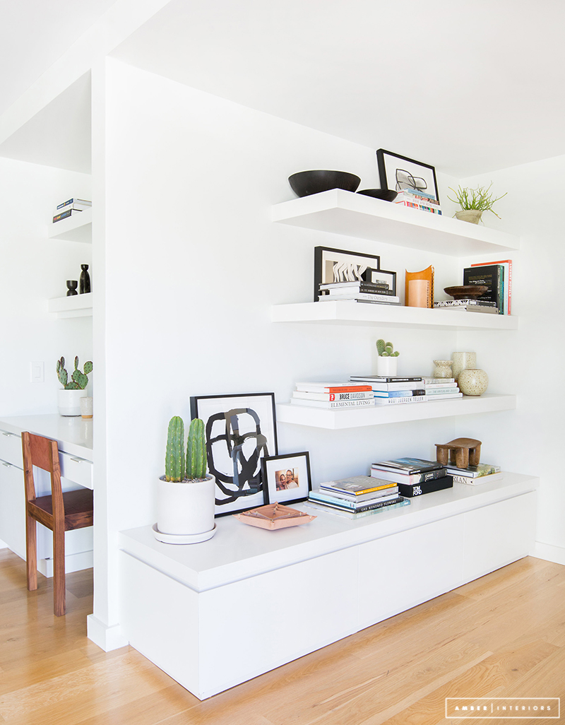 Minimalist Mid-Century white shelving