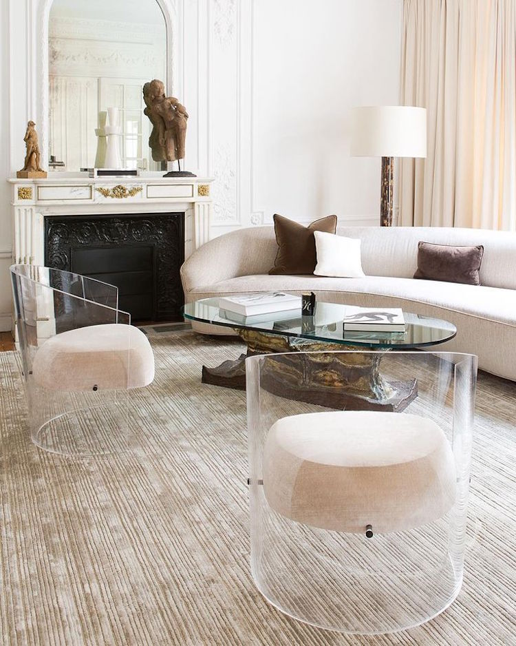 Modern and elegant neutral living room with Ghost chairs
