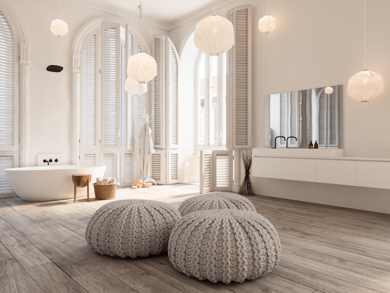 Neutral bathroom with gray poof ottomans via ByCocoon