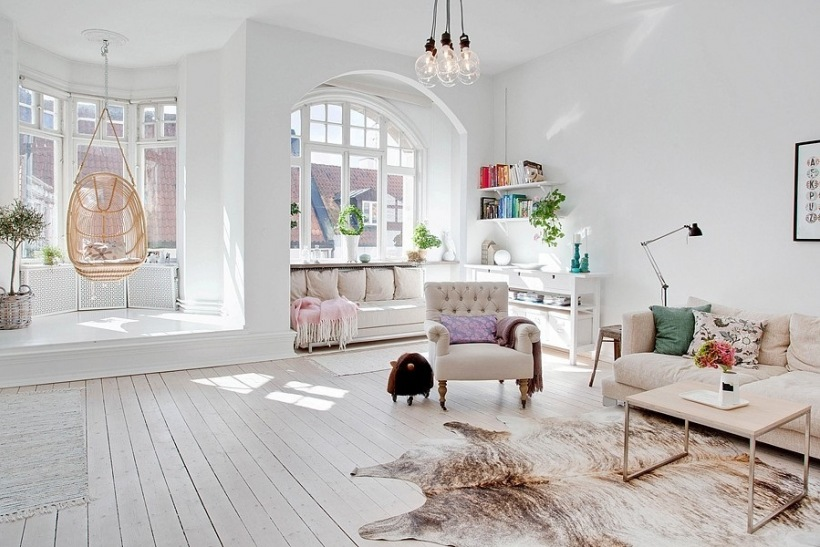 Neutral living room with hanging chair