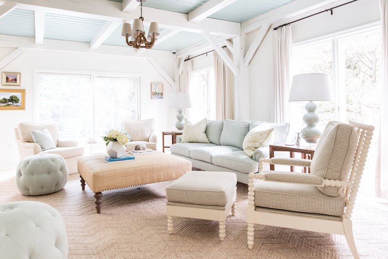 Neutral living room with light blue couch